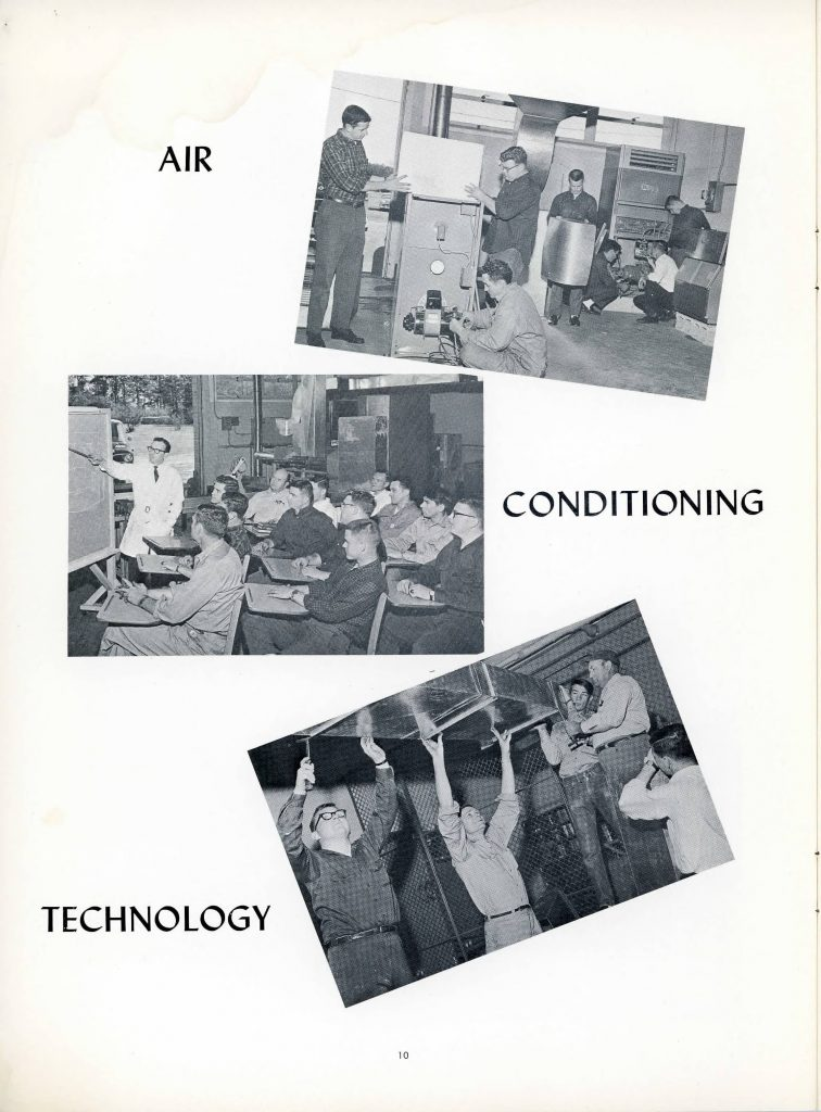 3 black and white photographs of students in a shop, students in a classroom, and students putting up an air duct