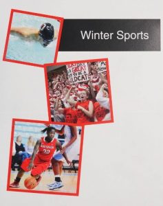 """Three photos on a blank page with the text """"Winter Sports"""" at the top right. The photos are of a swimmer mid stroke, a crowd of cheering Davidson fans, and a basketball player on the court."""
