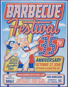 35th Annual Lexington Barbeque Festival poster. The poster features two pigs dressed up as a waiter and waitress dancing. The text on the image reads: Lexington Barbeque Festival 35th Anniversary. October 27, 2018.