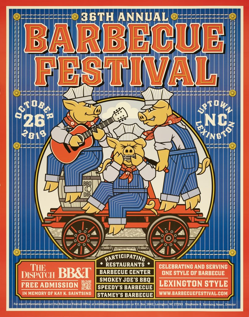 36th Annual Lexington Barbeque Festival poster. The poster features three pigs on handcar.