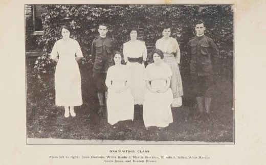 Seven students pose in two rows.