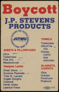 """A wallet-sized card printed in blue and red text. The title states """"Boycott J.P. Stevens products"""". The rest of the card features a list of products to boycott."""
