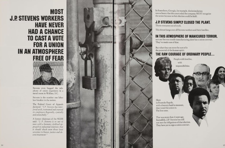 Two pages from the Testimony: Justice vs. J.P. Stevens program. The spread speaks to an atmosphere of fear at J.P. Stevens and features a black and white photo of a chain link fence in the middle of the spread with a few faces of people to the right.