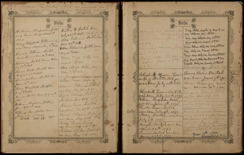 """Pages from the William T. Dortch bible titled """"Births"""". The pages are covered in handwriting of birth dates and names."""
