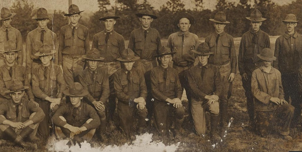 Close up of several soldiers in a photo of Battalion A, 117th Field Artillery, North Carolina National Guard.