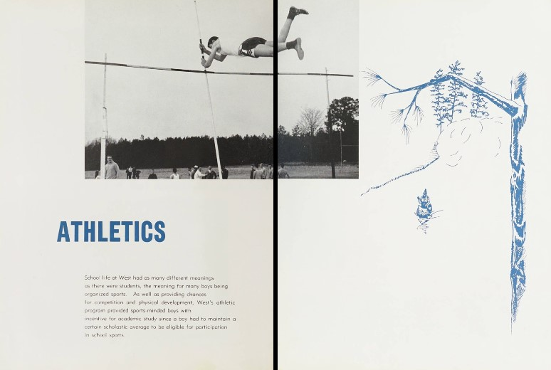 A two page spread from the West Mecklenburg High School. It features a photo of a student in mid air pole vaulting over a bar. 'Athletics' is in bright blue text along with a paragraph of text and an illustration of a tree branch over a river with a Native American canoeing.