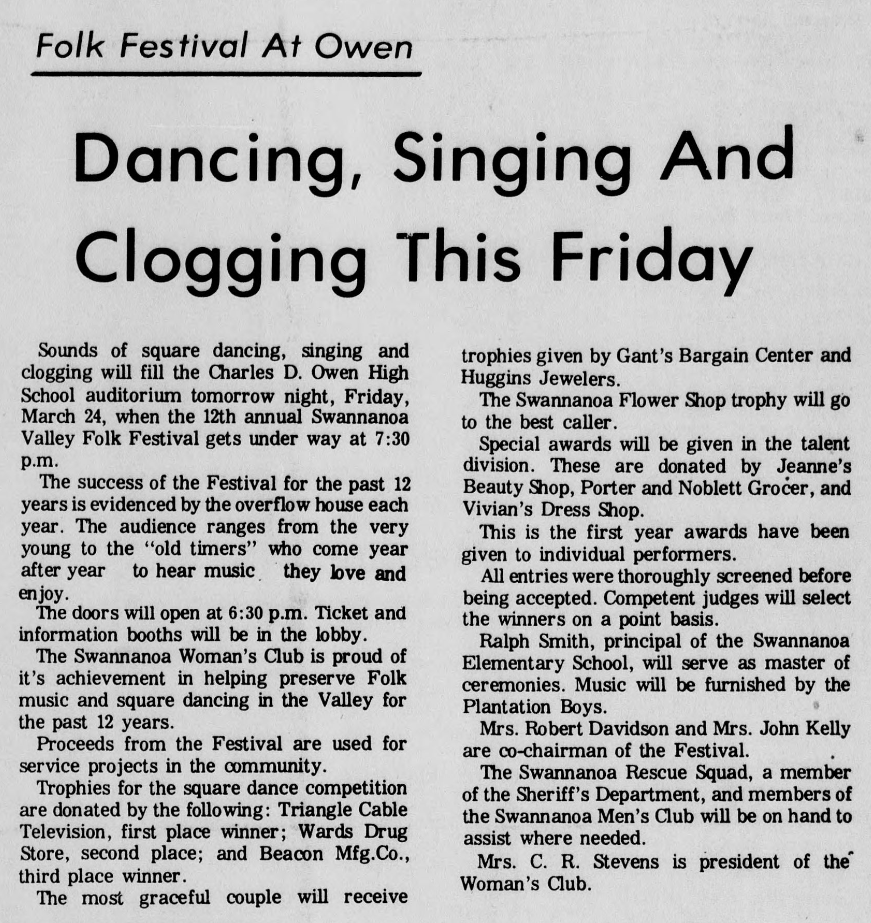 Article detailing information on the 1972 Folk Festival held at Owen High School in Black Mountain, North Carolina.