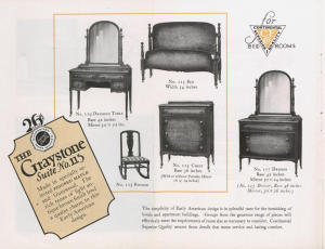 A page from the The Continental Furniture Company catalog featuring pieces from the Graystone Suite No. 115 set.