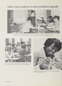 One page from the Pemican [1971] yearbook. It features three photos of students in math class.
