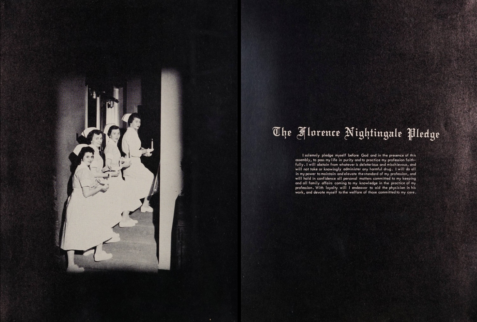 Two pages of the yearbook. The left side shows four nurses holding candles ascending a staircase with a spotlight on them. The right side of the page has The Florence Nightingale Pledge.