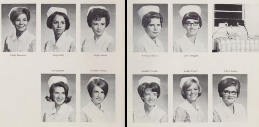 Two pages from The White Cap [1968] with portraits of some of the graduating class. They are all wearing their nurse uniforms.