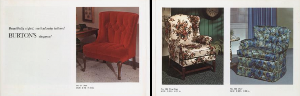 Clipping of three different upholstered chairs from the 1970 Burton Furniture catalog.