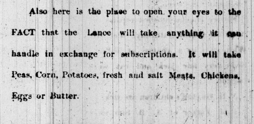 Black and white paragraph from the May 26, 1899 issue of the Cape Fear Lance stating they will offer newspaper subscriptions for trade