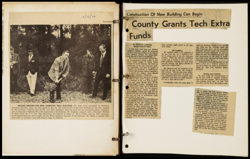 """Two pages from a Johnston Community College scrapbook. The left side features a photo of a person breaking ground with a shovel and the right page features on article titled """"County Grants Tech Extra Funds"""""""