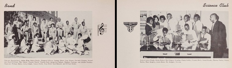 A clipping of two pages in the Scholastic yearbook. The photo on the left depicts the band and the photo on the right depicts the science club.