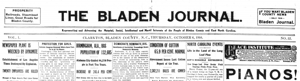Masthead and first few paragraphs of of the October 6, 1910 issue of The Bladen Journal