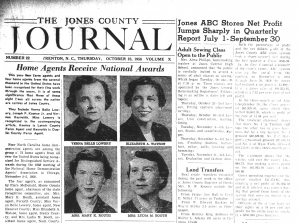 Top half of the October 23, 1958 issue of The Jones Journal with headshots of four adults