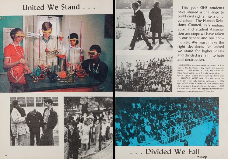 Two pages from the Goldsboro High School yearbook in which they discuss the second year of racial integration. Several photos cover the page, including images of basketball stands and four students in chemistry class.