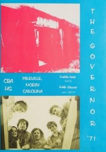 Page from The Governor 1971 yearbook. Features two images, one a hot pink photo of the front of Charles B. Aycock High School and the other is a sepia toned photo of students in a circle looking down at the camera. Both images are on a bright blue background.