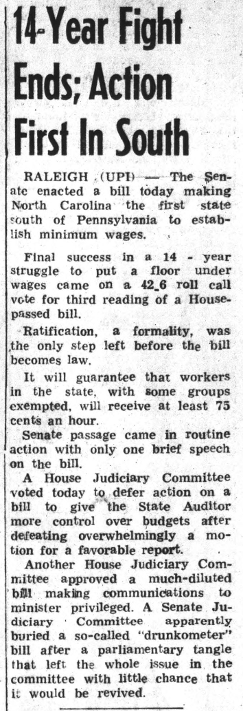 Article on the minimum age act in North Carolina passing in 1959. It states that NC was the first state below Pennsylvania to pass such a law.