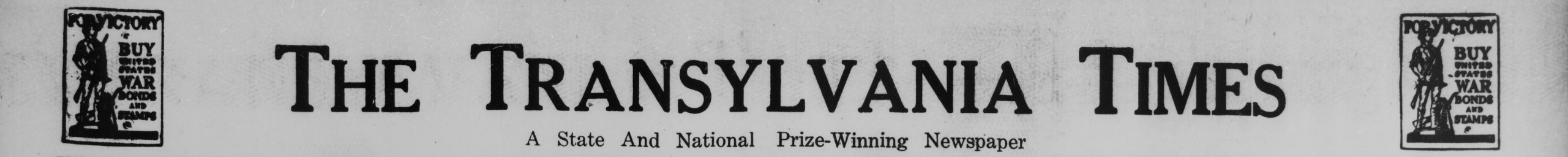 """The Transylvania Times header. Under the header reads, """"A State and National Prize-Winning Newspaper."""""""