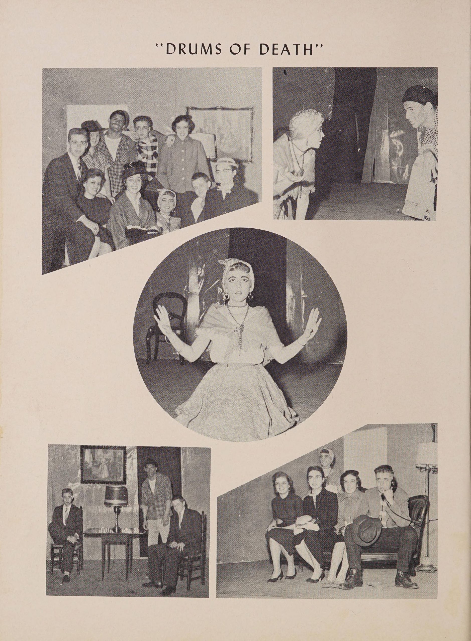 """Page titled """"Drums of Death"""" there are five separate photos. One shows a group of cast members huddled together in 19th century fashion. The second shows two individuals talking to each other on stage. The third shows an individual in costume looking out into the audience, shocked. The third shows three individuals on set--two in chairs and one standing--looking at the camera. The final photo has 5 individuals, 4 sitting on a couch while one speaks on the phone."""