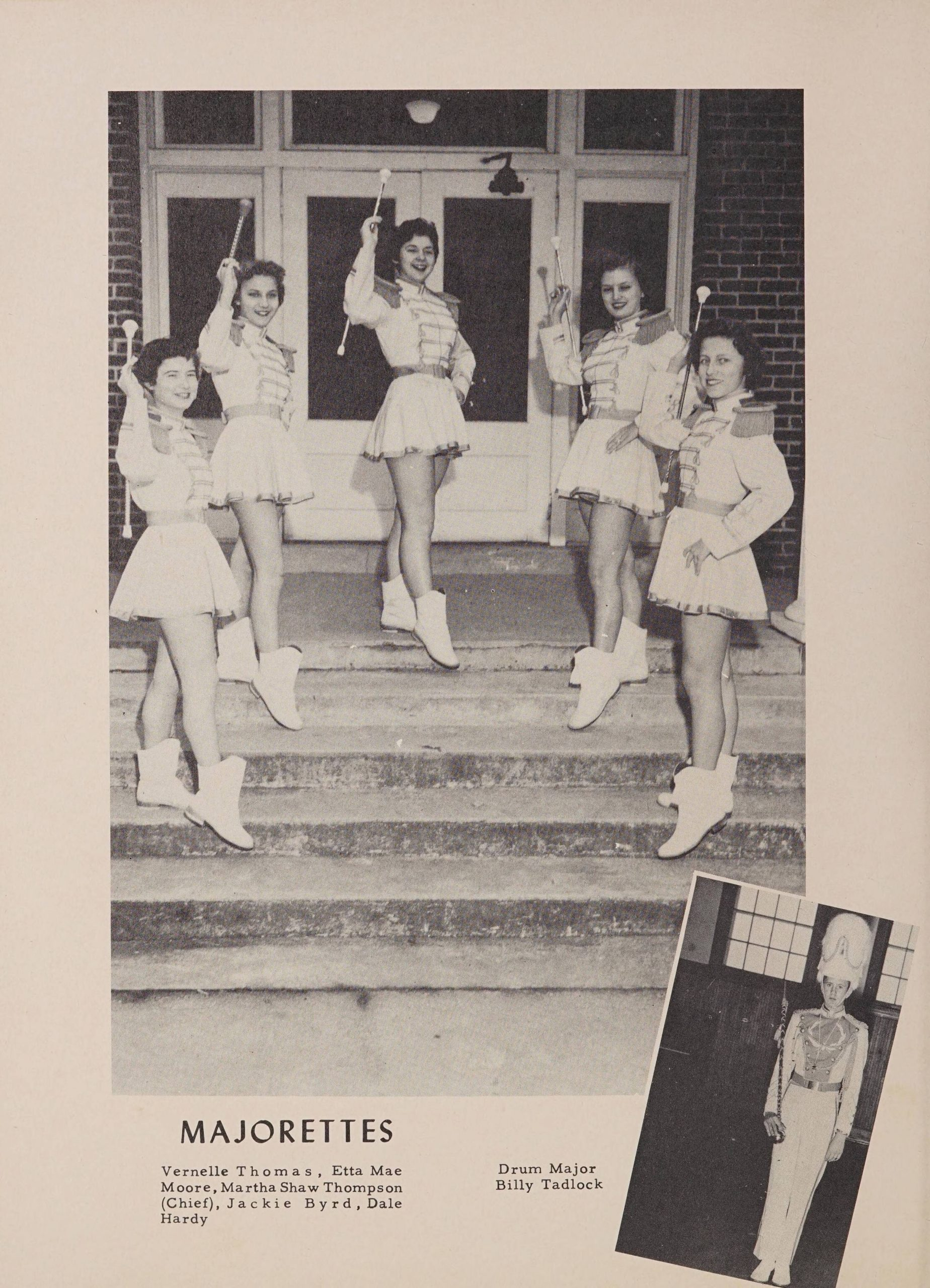Majorettes page in the 1956 Winoca yearbook. The first picture shows 5 high school students in majorette uniforms and with batons. The second photo shows the drum major in their uniform.
