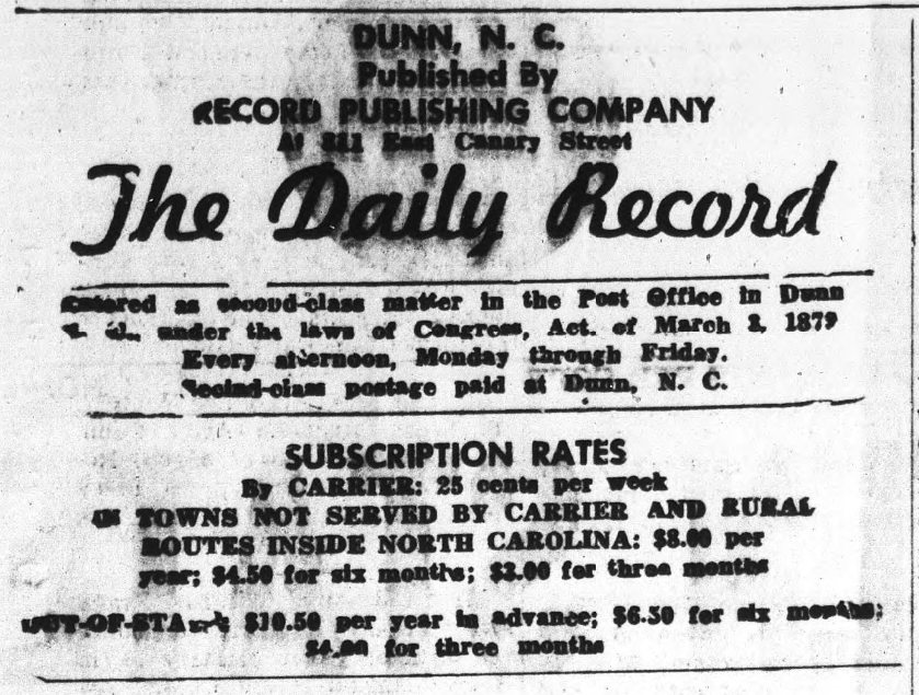 The Daily Record subscription and title information. This includes the publisher, subscription rates, and address.