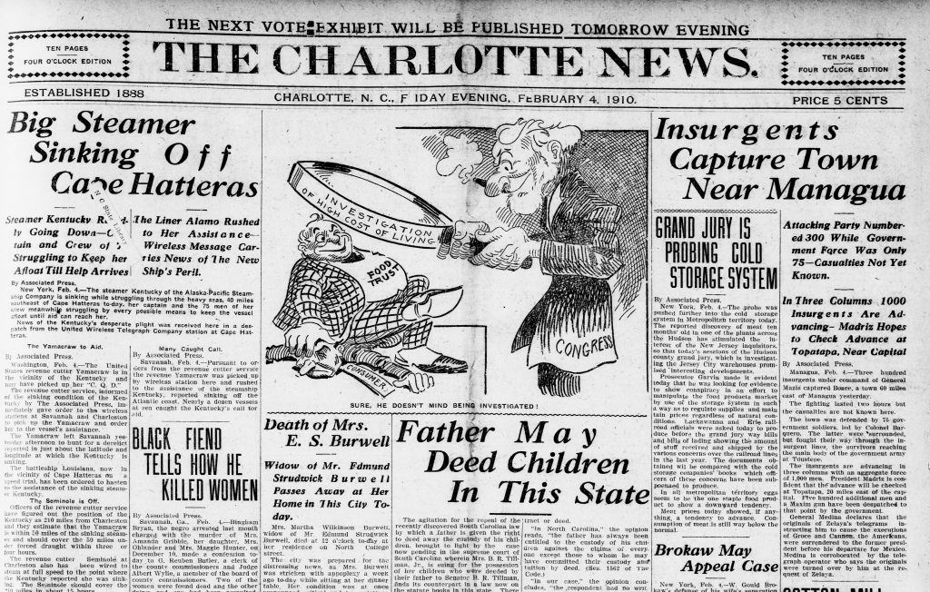 Black and white image of the top half of a newspaper page
