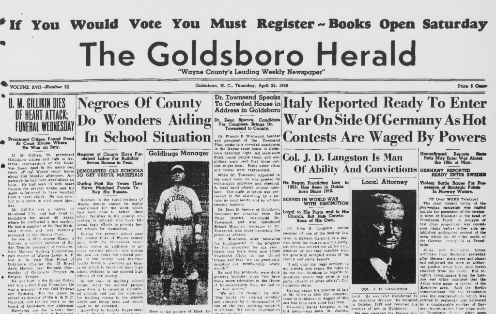 Black and white image of the top half of the April 25 1940 issue of the Goldsboro Herald