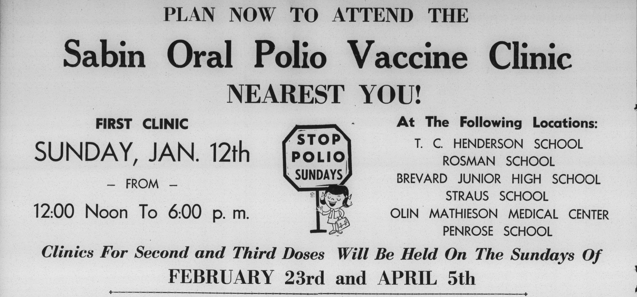 Advertisement for a Sabin oral polio vaccine clinic in Brevard on January 12, 1964.