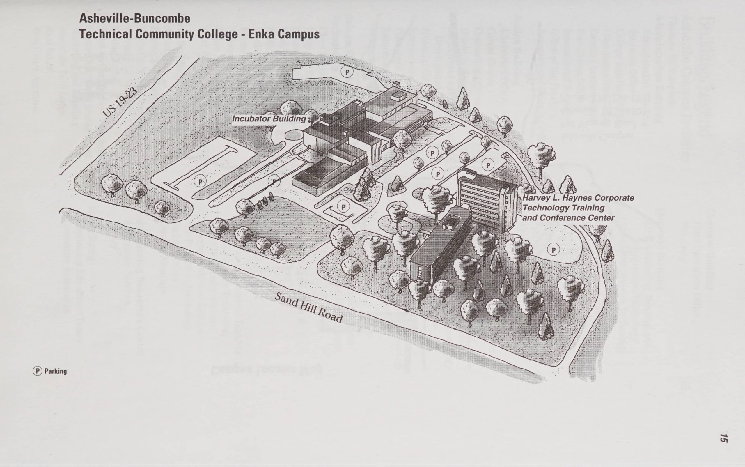 Image is a sketch of A-B Tech's Enka campus as of 2003.