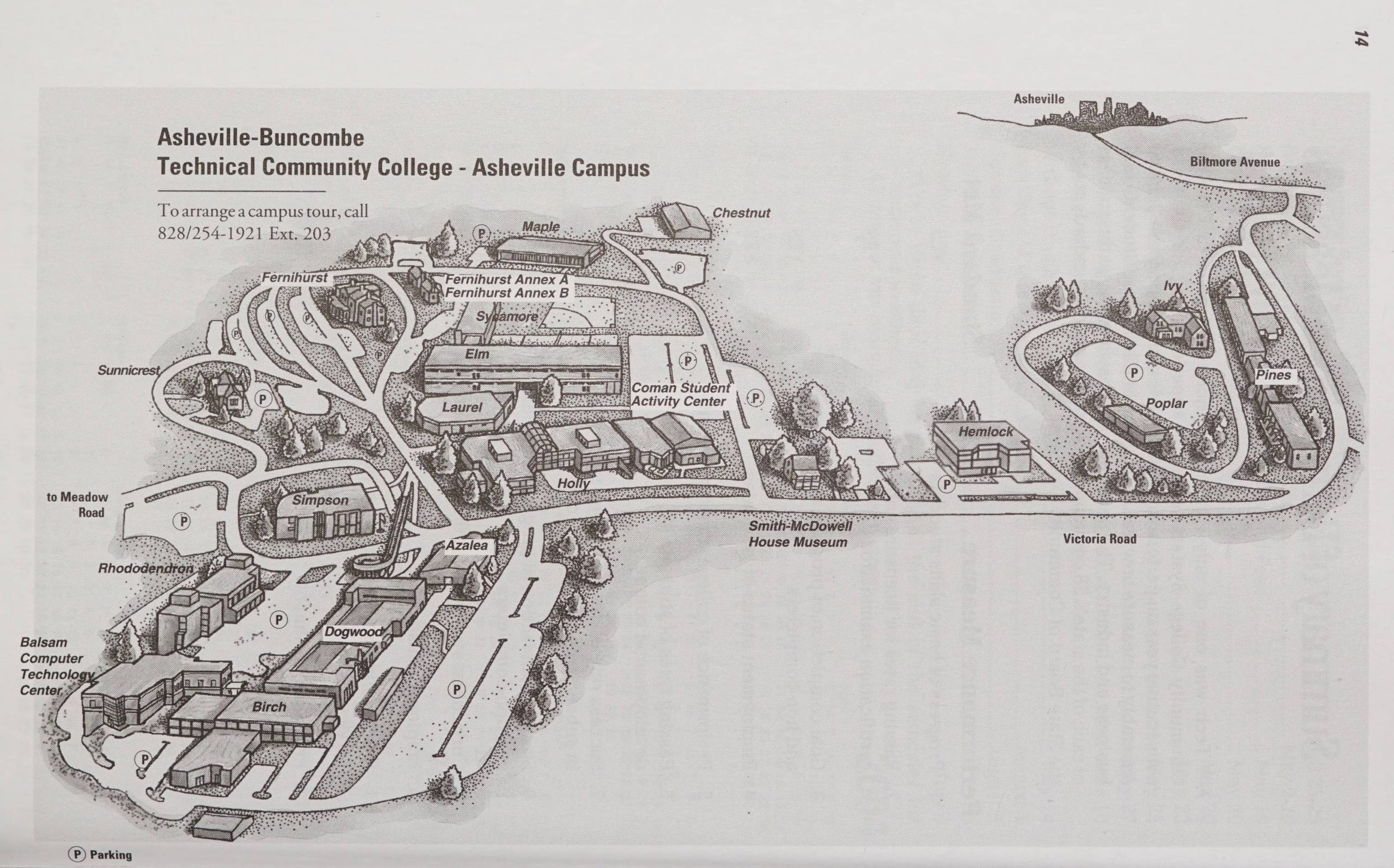 Image is a sketch of A-B Tech's campus as of 2003.