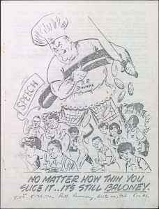 black and white cartoon of large angry person with knife standing over people with lowered heads