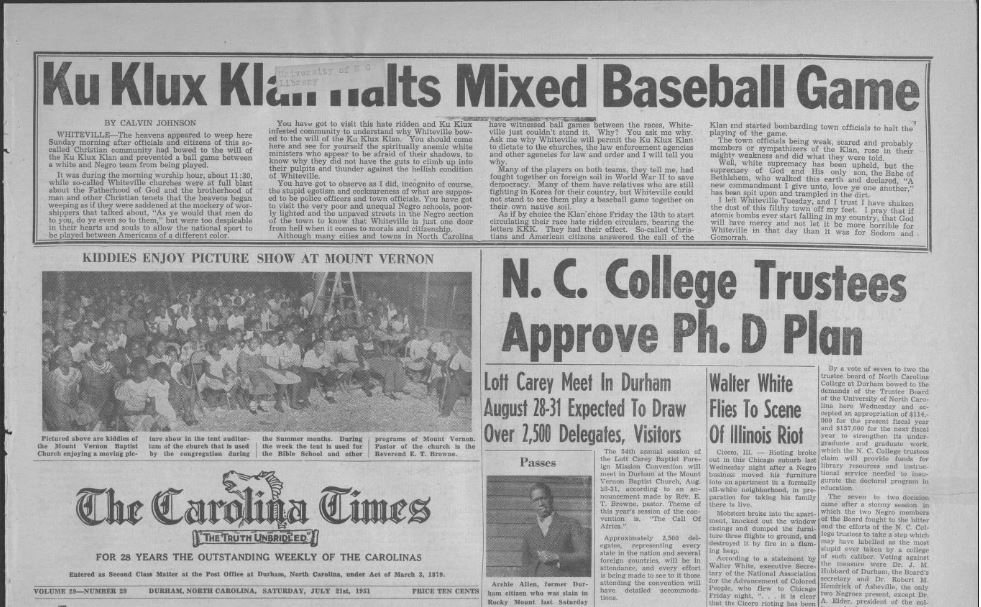 Issues from 1951 of the Carolina Times are now on DigitalNC