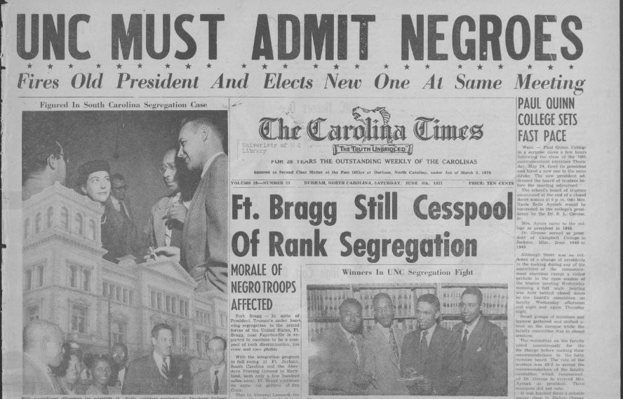"""Front page of June 9, 1951 Carolina Times reads """"UNC MUST ADMIT NEGROES"""""""