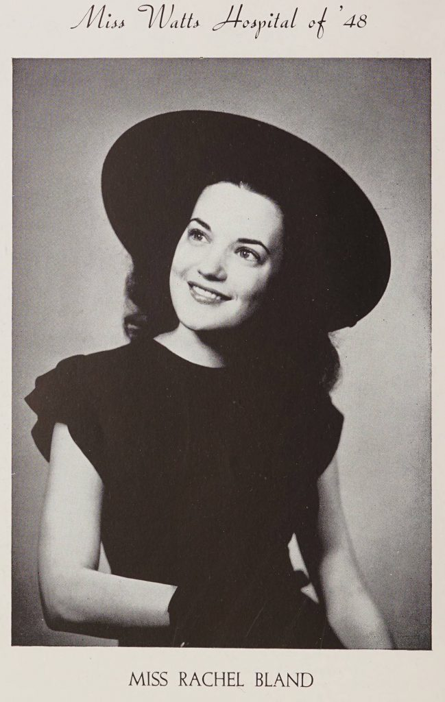 Miss Watts Hospital of '48. Miss Rachel Bland. Picture features a woman in a black dress, gloves, and hat.
