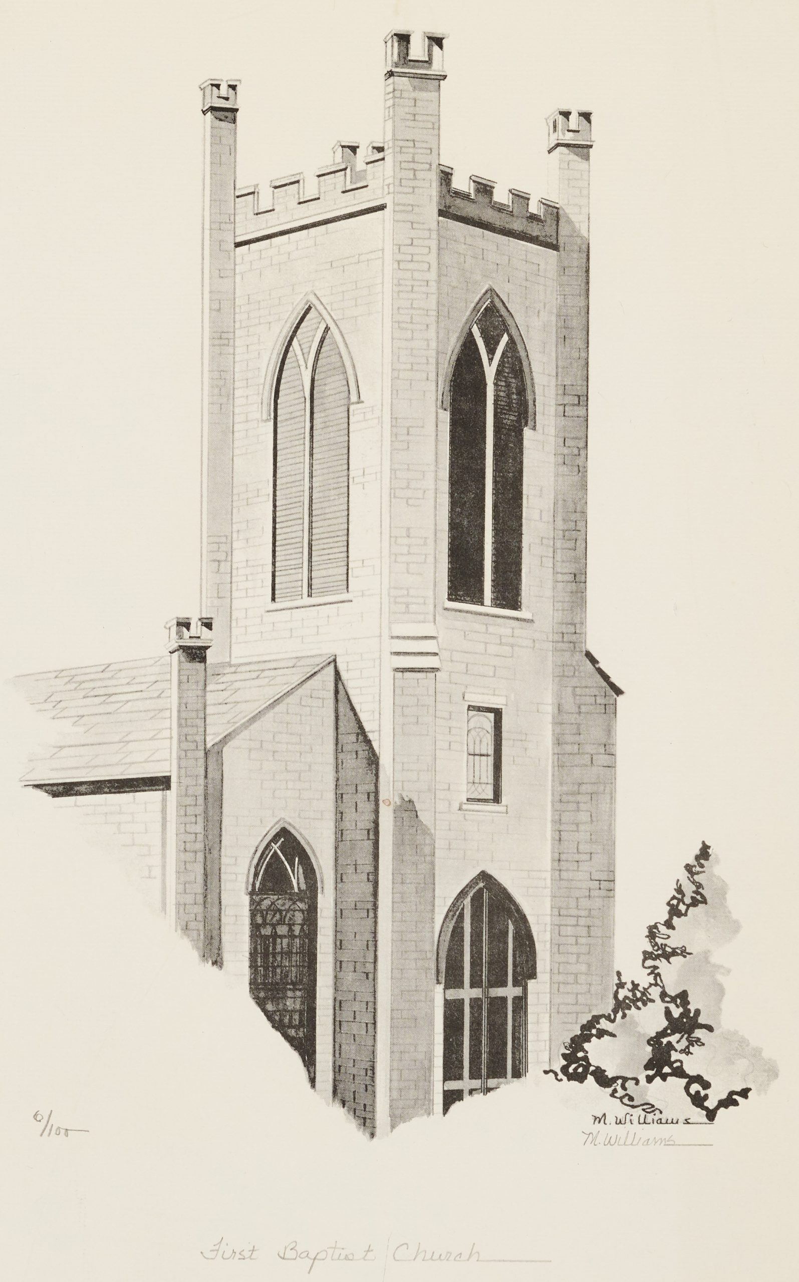 Print of the First Baptist Church steeple.