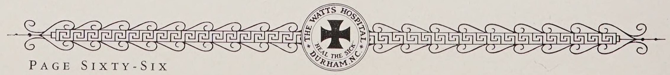 """Watts Hospital School of Nursing 1937 yearbook border. In the center of the border is the insignia of Watts Hospital which reads: """"Watts Hospital. Durham, NC. Heal the Sick."""""""