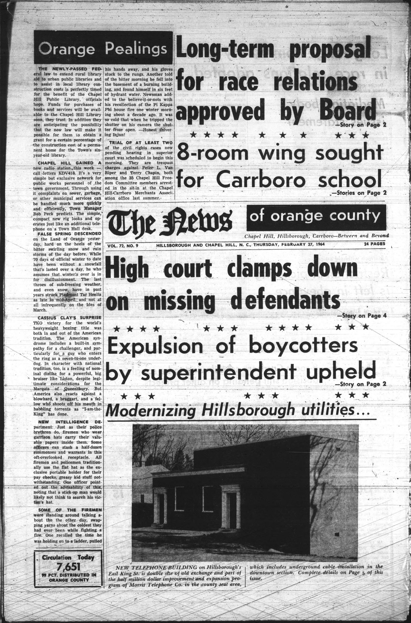Black and white front page of an English language newspaper with photo of one-story building