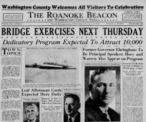 Black and white front page of English language newspaper with several headshots and photo of bridge