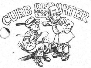 """Black and white cartoon of standing police officer saying """"move on buddy"""" towards a seated adult writing on a notepad"""