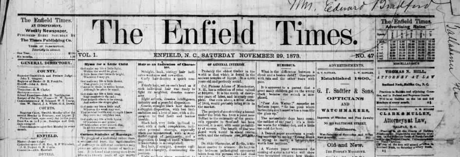 Front page of the Enfield Times in 1873