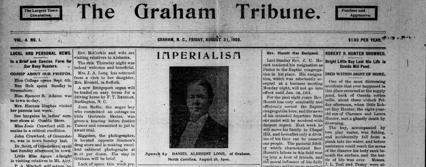 Header of the Graham Tribune 1900 newspaper