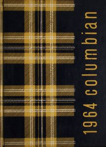 Black and yellow plaid cover of a yearbook