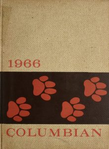 Yearbook cover for 1966 Columbian with orange paw prints