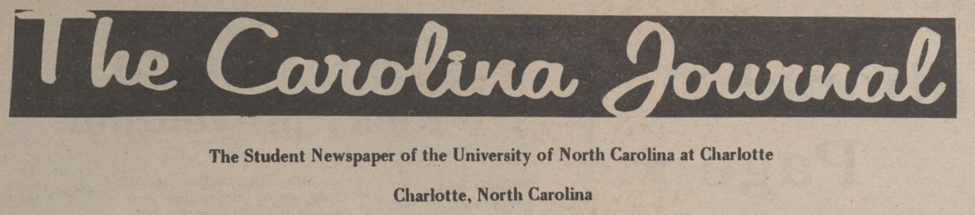 The Carolina Journal header. The subtitle reads: the student newspaper of the University of North Carolina at Charlotte. Charlotte, North Carolina.